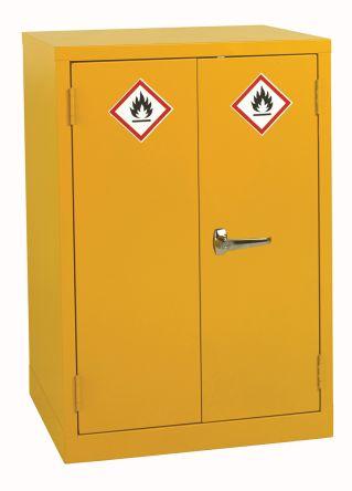 Yellow Steel Lockable 2 Doors Hazardous Substance Cabinet, 900mm x 600mm x 500mm product photo