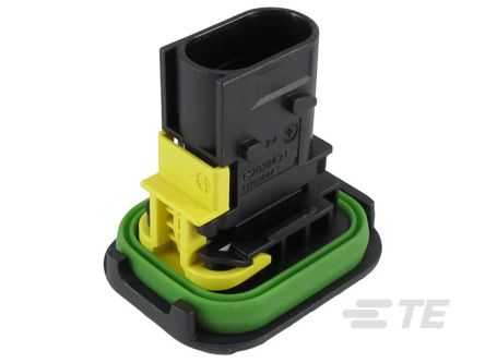TE Connectivity HDSCS Series, 1 Row 3 Way IP67, IP6K9K Flange Mount Socket Tab Housing