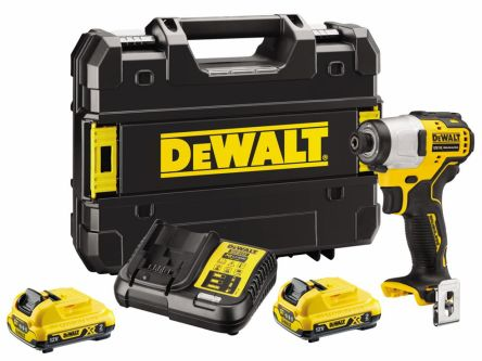 DeWALT 12V Impact Driver, 1.5 → 10mm Hex Chuck, 2Ah Battery Capacity, UK Plug