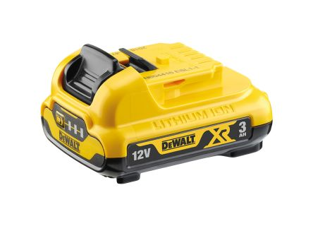 DeWALT DCB124-XJ 3Ah XR Li-Ion 12V Rechargeable Power Tool Battery, For Use With 10.8V XR and 12V XR Tools Plus, 10.8V