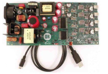 ON Semiconductor, USB AC-DC 4-Port 200W Source USB Evaluation Board for FUSB252, FUSB307, NCP1399 -