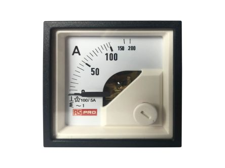 RS PRO Analogue Panel Ammeter 10 (Input) A, 100/5 (CT) A, 200 (Scle) A AC, 48mm x 48mm, 1 % Moving Iron