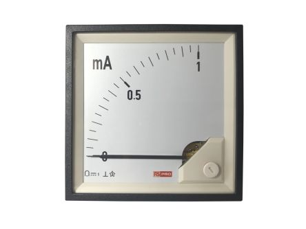 RS PRO Analogue Panel Ammeter 1 (Input)mA DC, 96mm x 96mm, 1 % Moving Coil