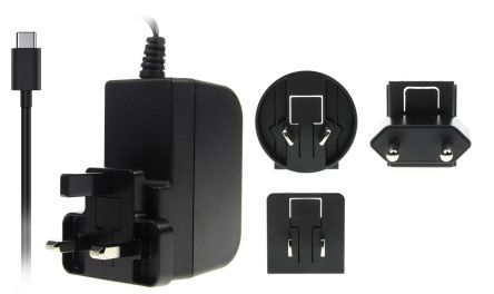 RS PRO Plug Adapter 5.1V, 3A, Level VI Efficiency, 1 Output Power Adapter, Australia, European Plug, UK, US