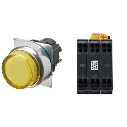 Omron, A22N Illuminated Yellow Flat Push Button Complete Unit, DPNO, 22mm Alternate Screw