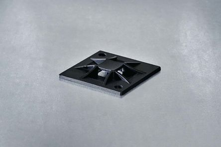 HellermannTyton Self Adhesive Black Cable Tie Mount 30 mm x 30mm, 5.1mm Max. Cable Tie Width