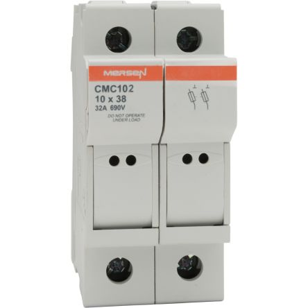 Mersen 32A Rail Mount Fuse Holder for 10 x 38mm Fuse, 2P, 690 <arrow/> 1000V ac/dc