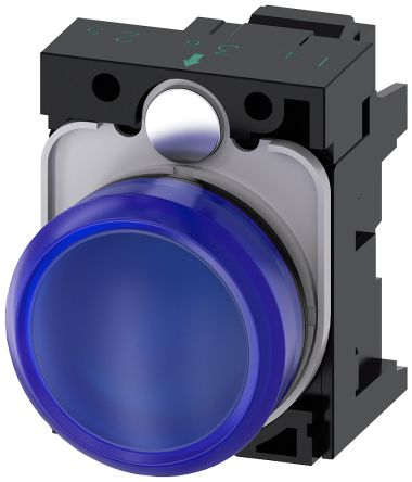 SIRIUS ACT, front panel mounting Blue LED Indicator, 22.3mm Cutout, IP66, IP67, IP69(IP69K), Round