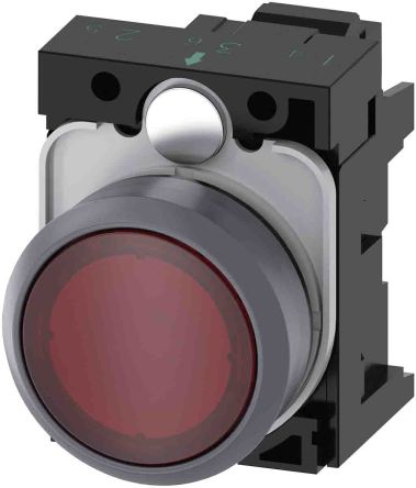SIRIUS ACT, Front plate mounting Red LED Indicator, IP66, IP67, IP69(IP69K), Round