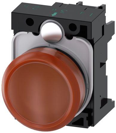SIRIUS ACT, front panel mounting Amber LED Indicator, 22.3mm Cutout, IP66, IP67, IP69(IP69K), Round