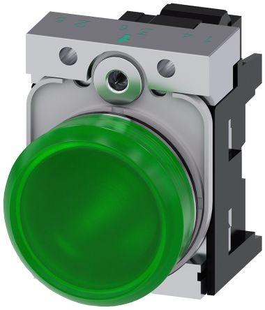 SIRIUS ACT, front panel mounting Green LED Indicator, 22.3mm Cutout, IP66, IP67, IP69(IP69K), Round