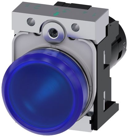 SIRIUS ACT Blue LED Indicator, 22.3mm Cutout, IP66, IP67, IP69(IP69K), Round