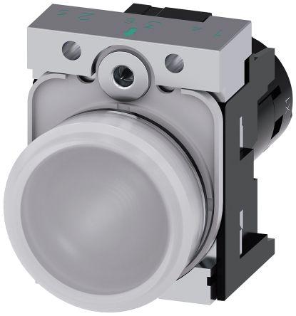SIRIUS ACT White LED Indicator, 22.3mm Cutout, IP66, IP67, IP69(IP69K), Round