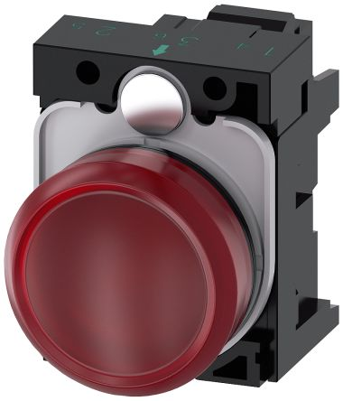 SIRIUS ACT, front panel mounting Red LED Indicator, 22.3mm Cutout, IP66, IP67, IP69(IP69K), Round