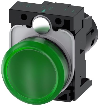 SIRIUS ACT Green LED Indicator, 22.3mm Cutout, IP66, IP67, IP69(IP69K), Round