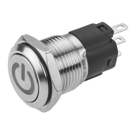 EAO CO Latching Push Button Switch, IP65, IP67, Panel Mount, 240V ac