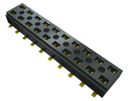 Samtec, CLT, CLT-113 2mm Pitch 12 Way 2 Row Vertical PCB Socket, Surface Mount, Press-In Termination