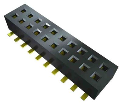 Samtec, CLP, CLP-102 1.27mm Pitch 3 Way 2 Row Horizontal PCB Socket, Surface Mount, Press-In Termination