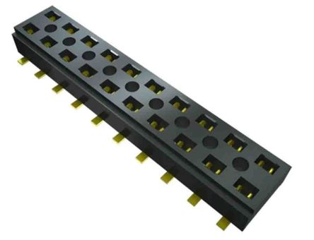 Samtec, CLT, CLT-102 2mm Pitch 2 Way 2 Row Vertical PCB Socket, Surface Mount, Press-In Termination