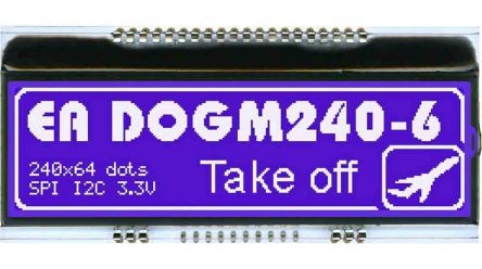 Electronic Assembly EA DOGM240B-6 EA DOG LCD Display, Blue on