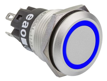 EAO 1C Maintained Blue LED Push Button Switch, IP65, IP67, 19 (Dia.)mm, Flush Mount, Blank, 12V