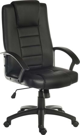 Bürostuhl Chefsessel auf Rädern, Lederausstattung Schwarz, höhenverstellbar 50 ? 60cm