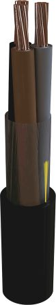 2 Core Unscreened Power Cable, 2.5 mm² Black 100m Reel, 6/1 kV, MarineLine YZp 0 Series