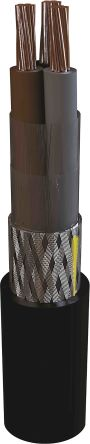 3 Core Screened Tinned Copper Braid Power Cable, 1.5 mm² Black 100m Reel, 6/1 kV, MarineLine YOZp 0 Series