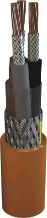 2 Core Screened Tinned Copper Braid Power Cable, 1.5 mm² Orange 100m Reel, 6/1 kV, MarineLine YOZp X-FR 0 Series