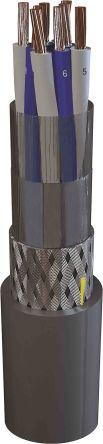 2 x 2 Core Screened Tinned Copper Braid Multipair Data Cable, 0.75 mm² Grey 100m Reel, MarineCom YOZc 250 V Series