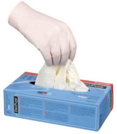 Honeywell White Latex Disposable Gloves size 8 - M Pre-Powdered x 100
