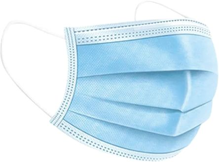 Blue Polyethylene Face Mask 3 Ply, for General Purpose, One Size