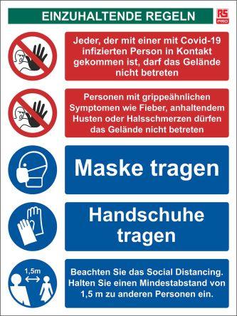 Gebotszeichen   COVID-19 Einzuhaltende regeln   mit Piktogramm