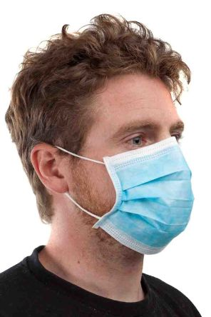 Blue Polypropylene Type II Surgical Mask 3 Ply, for Medical, One Size