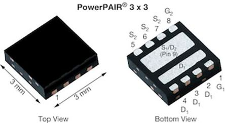 Dual N-Channel MOSFET, 69.7 A, 30 V, 9-Pin PowerPAIR 3 x 3 Vishay SiZ340ADT-T1-GE3