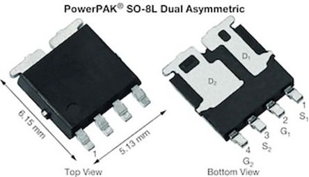 Dual N-Channel MOSFET, 54 A, 60 V, 6-Pin PowerPAK SO-8L asymmetric Vishay SQJ264EP-T1_GE3