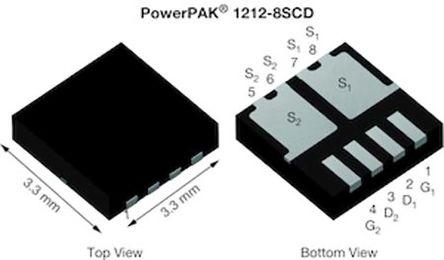 Dual N-Channel MOSFET, 101 A, 30 V, 8-Pin PowerPAK 1212-8SCD Vishay SISF06DN-T1-GE3