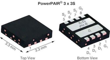 Dual N-Channel MOSFET, 19.1 A, 100 V, 8-Pin PowerPAIR 3 x 3S Vishay SIZ270DT-T1-GE3