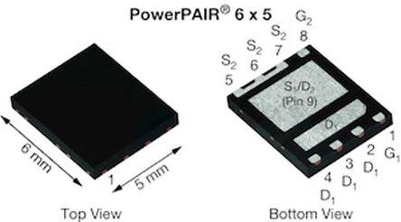 Dual N-Channel MOSFET, 94.6 A, 30 V, 8-Pin PowerPAIR 6 x 5 Vishay SIZ998BDT-T1-GE3