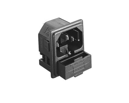 Bulgin Horizontal Snap-In IEC Connector Male, 10A, 250 V, Fuse Size 5 x 20mm