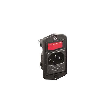 Bulgin Horizontal Screw Mount IEC Connector Male, 10A, 250 V, Fuse Size 5 x 20mm