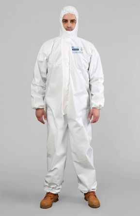 BioBlocked White Disposable Coverall, S to M
