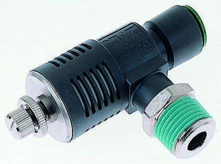 SMC Speed Exhaust Controller, 1/4 in R 1/4 Male x8mm