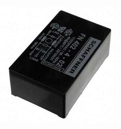 Schaffner FN402 Series 4A 250 V ac 400Hz Through Hole RFI Filter, with Pin  Terminals