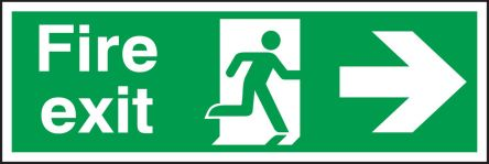 RS PRO PET Fire Safety Label, Fire Exit Right Sign With English Text Self-Adhesive, 450 x 150mm