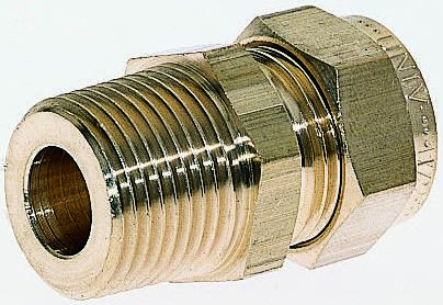 1/2in x 1/2 in BSPT Male Straight Coupler Brass Compression Fitting product photo