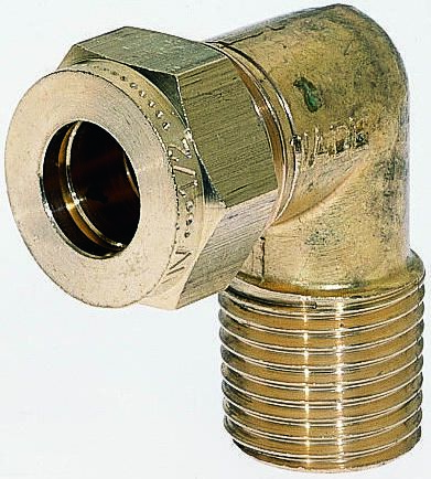 1/2in x 1/2 in BSPT Male 90° Equal Elbow Brass Compression Fitting product photo
