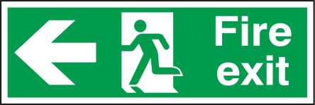 RS PRO PVC Fire Safety Label, Fire Exit Left Sign With English Text, 450 x 150mm