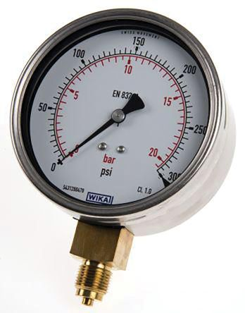 WIKA 7075562 Analogue Positive Pressure Gauge Bottom Entry 6bar, Connection Size G 1/4