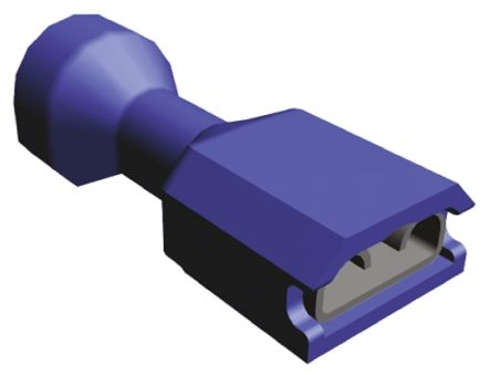 TE Connectivity Ultra-Fast .250 Series Blue Insulated Crimp Receptacle, 6.35 x 0.81mm, 1.3mm² to 2mm², 16AWG to 14AWG,